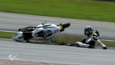 Sepang 2011 - Moto2 - FP2 - Action - Max Neukirchner - Crash