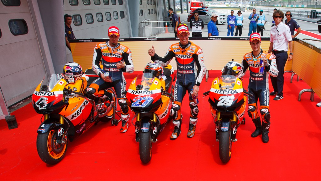 Dovizioso, Stoner, Pedrosa, Repsol Honda Team, Sepang QP