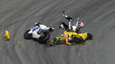 Sepang 2011 - Moto2 - Race - Action - Corti and Corsi - Crash
