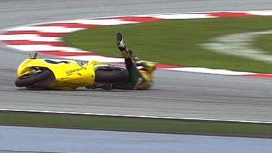 Sepang 2011 - Moto2 - Race - Action - Mattia Pasini - Crash