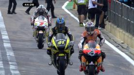 Stoner set a last minute fast lap to jump to the front of the pack in the first practice session of the Gran Premio Generali de la Comunitat Valenciana, ahead of team mate Pedrosa and Valentino Rossi.