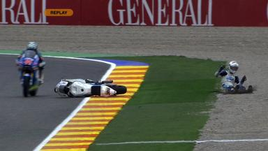 Valencia 2011 - Moto2 - FP2 - Action - Robertino Pietri - Crash