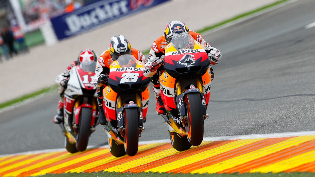 Dovizioso, Pedrosa, Spies, Repsol Honda Team, Yamaha Factory Racing