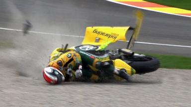 Valencia 2011 - Moto2 - Race - Action - Mattia Pasini - Crash