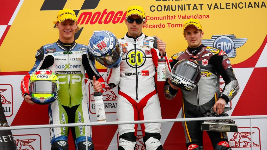 Aegerter, Pirro, Kallio, Technomag-CIP, Gresini Racing Moto2, Marc VDS Racing Team, Valencia RAC