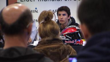Marc Marquez at the launch of his new sponsor, Garmin