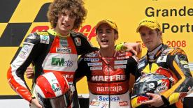 Alvaro Bautista opened his win account for 2008 with a runaway victory in the 250cc Portuguese showdown.