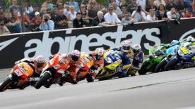 Valentino Rossi took a second consecutive race victory at the Alice Grand Prix de France, ahead of Jorge Lorenzo and Colin Edwards. The Italian now holds a three point advantage at the top of the World Championship standings.