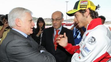 Telecinco CEO Paolo Vasile, Dorna Sports CEO Carmelo Ezpeleta, Valentino Rossi - Jerez Circuit