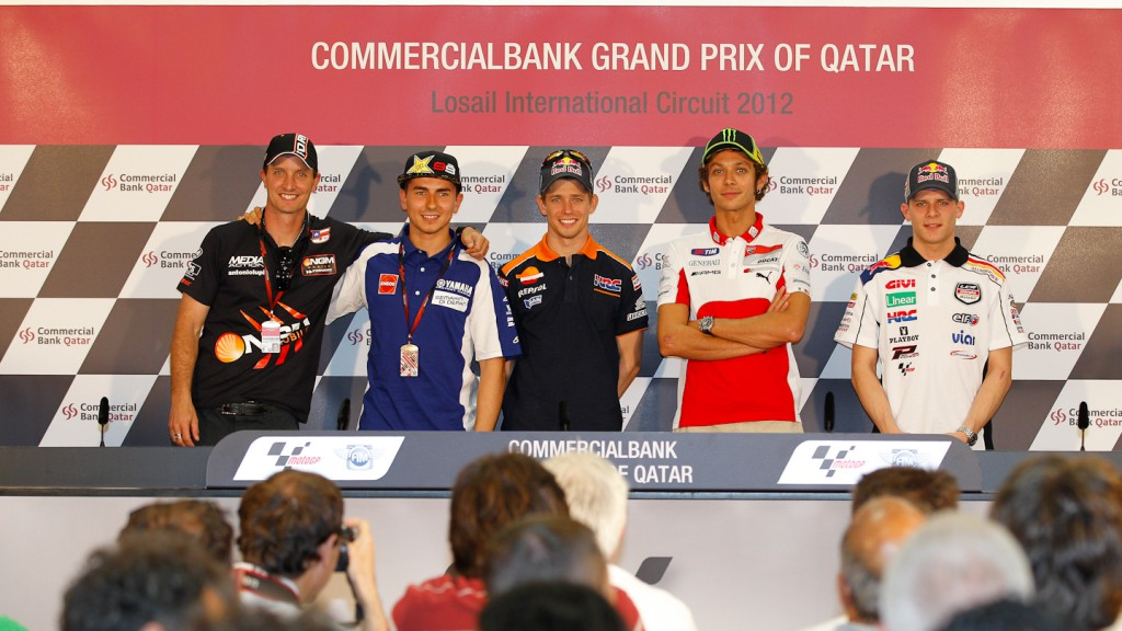 Edwards, Lorenzo, Stoner, Rossi, Bradl, Qatar Press Conference