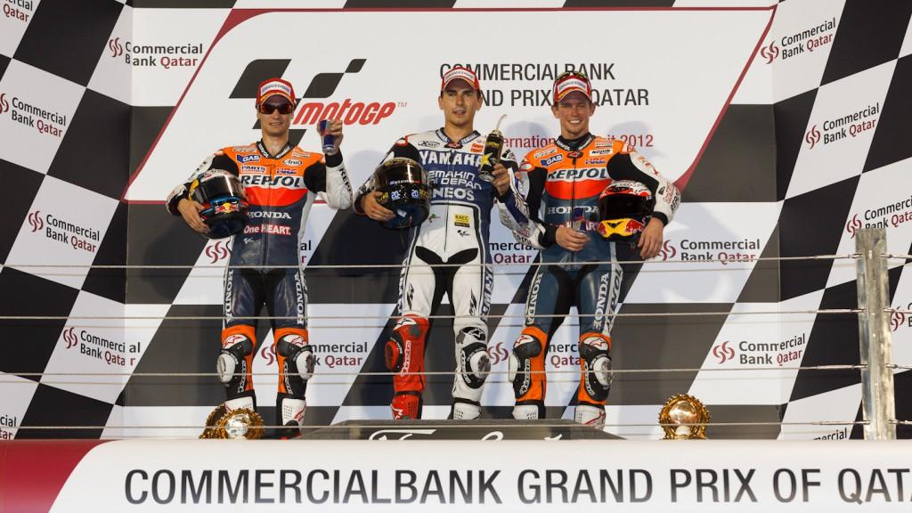Pedrosa, Lorenzo, Stoner, Repsol Honda Team, Yamaha Factory Racing, Qatar RAC