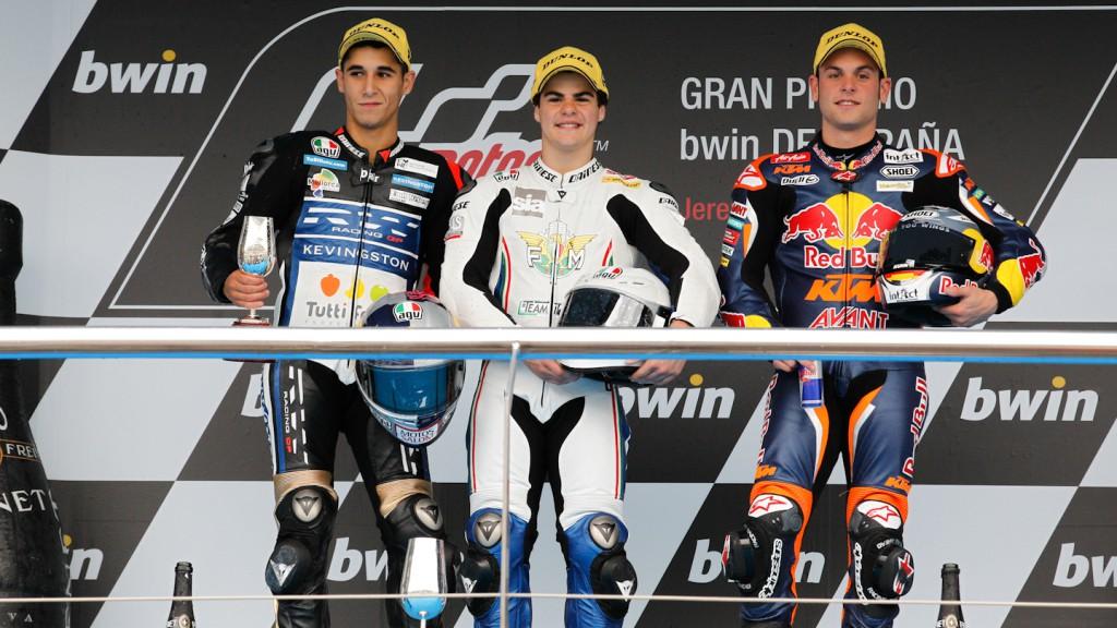 Luis Salom, Romano Fenati, Sandro Cortese, RW Racing GP, Team Italia FMI, Red Bull KTM Ajo, Jerez RAC