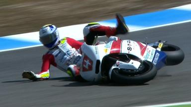 Estoril 2012 - Moto2 - FP3 - Action - Randy Krummenacher - Crash