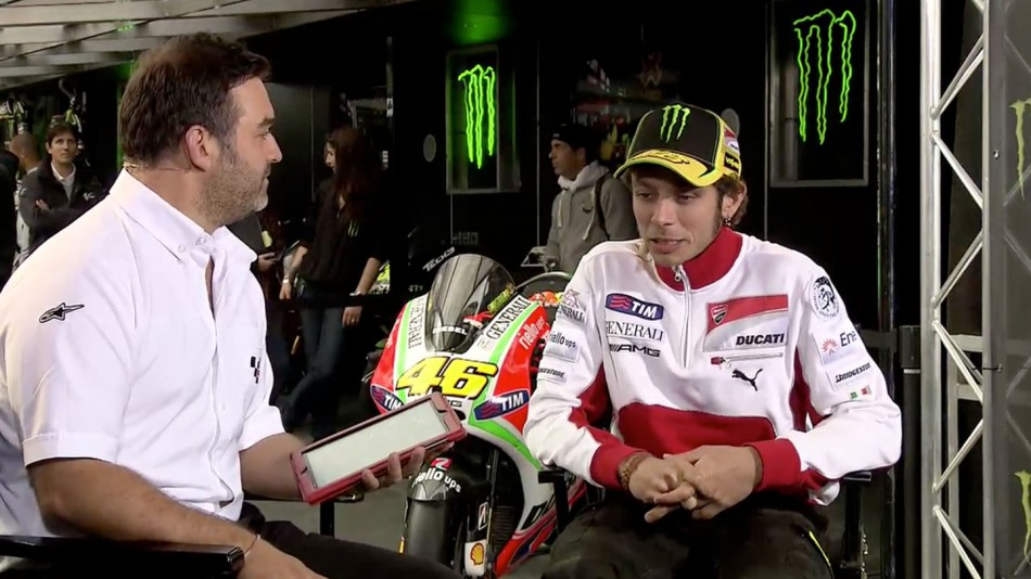 motogp.com Commentator Gavin Emmet, Valelntino Rossi, Ducati Team