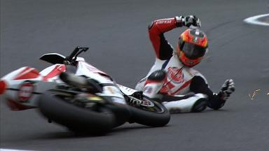 Le Mans 2012 - Moto2 - FP3 - Action - Gino Rea - Crash