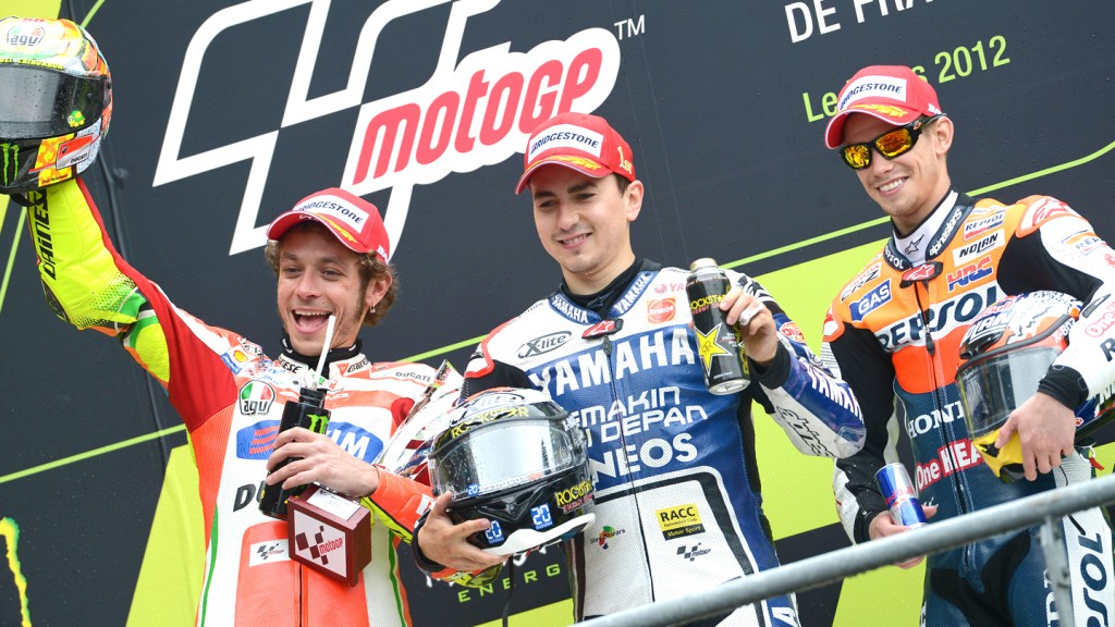Rossi, Lorenzo, Stoner, Ducati Team, Yamaha Factory Racing, Repsol Honda Team, Le Mans RAC