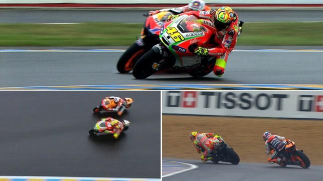 Nouvelles images du duel Rossi-Stoner au Mans