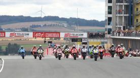 Reigning World Champion denies Spanish upstart victory at Alice Motorrad Grand Prix Deutschland.