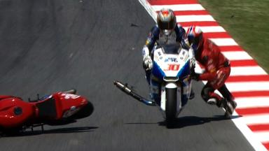 Catalunya 2012 - Moto2 - QP - Action - Cardus and Nakagami - Crash