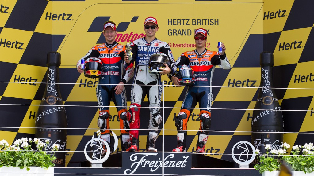 Stoner, Lorenzo, Pedrosa, Repsol Honda Team, Yamaha Factory Racing, Silverstone RAC