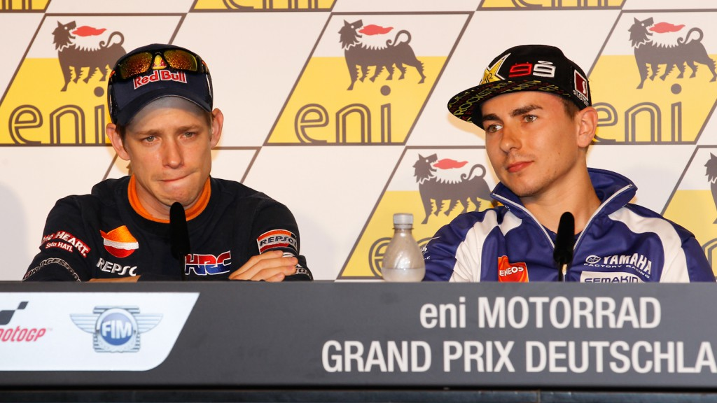 Stoner, Lorenzo, Repsol Honda Team, Yamaha Factory Racing, eni Motorrad Grand Prix Deutschland Press Conference