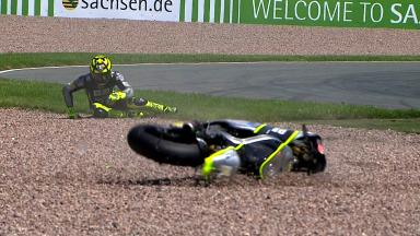 Sachsenring 2012 - Moto2 - FP1 - Action - Andrea Iannone - Crash