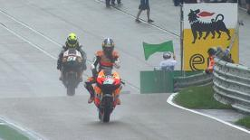 Following heavy rainfall and torrid conditions during qualifying at the eni Motorrad Grand Prix Deutschland at the Sachsenring it was Repsol Honda Team's Casey Stoner who made use of a drying track in the final minutes to snatch pole position ahead of Ben Spies and Dani Pedrosa.