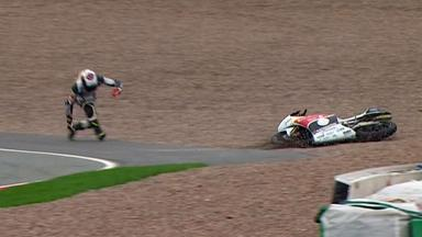 Sachsenring 2012 - Moto3 - FP3 - Action - Louis Rossi - Crash