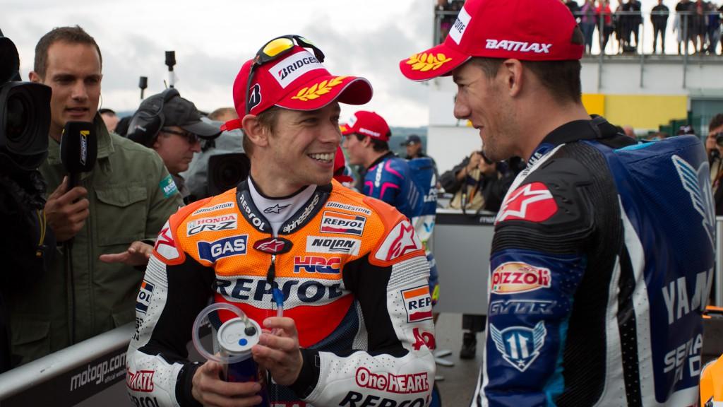 Casey Stoner, Ben Spies, Repsol Honda Team, Yamaha Factory Racing, Sachsenring QP