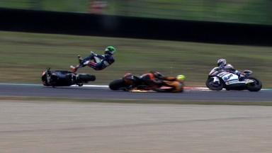 Mugello 2012 - Moto2 - FP3 - Action - Espargaro and Zarco - Crash