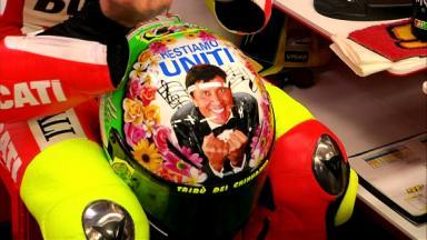 Rossi's 'Restiamo Uniti' 2012 Mugello helmet