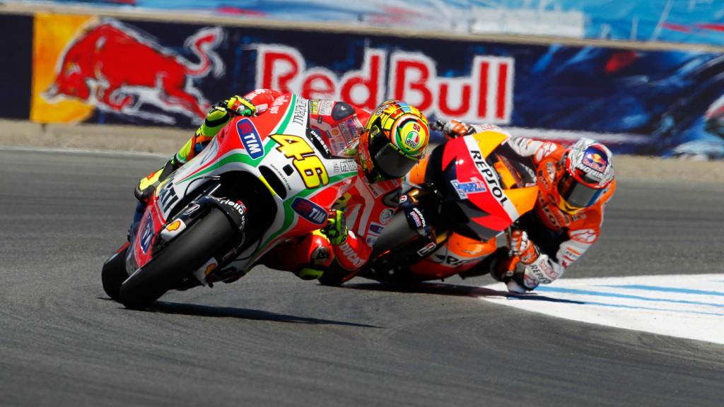 Valentino Rossi, Casey Stoner, Ducati Team, Repsol Honda Team, Laguna Seca FP2