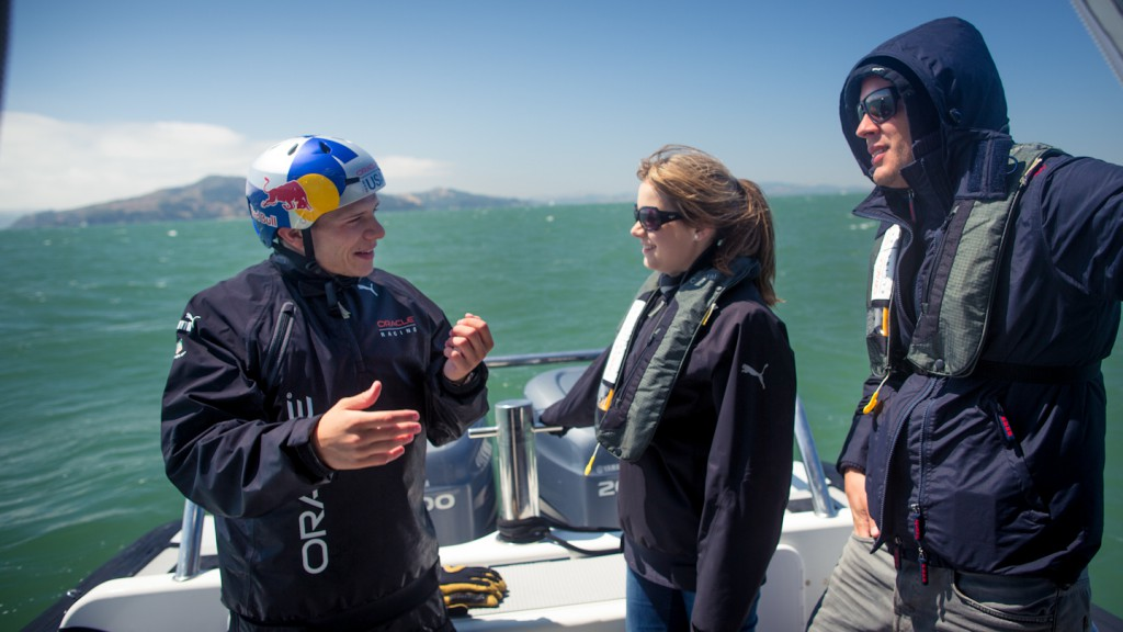Stefan Bradl on Oracle Team USA's AC45 with Jimmy Spithill