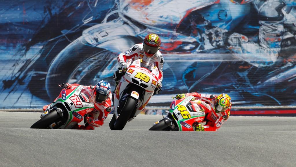 Alvaro Bautista, Nicky Hayden, Valentino Rossi, San Carlo Honda Gresini, Ducati Team, Laguna Seca RAC