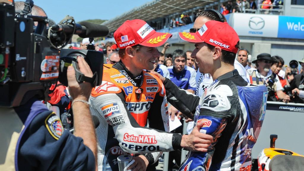 Casey Stoner, Jorge Lorenzo, Repsol Honda Team, Yamaha Factory Racing, Laguna Seca RAC