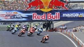 Ducati's Casey Stoner dominated the Red Bull U.S. Grand Prix race at Laguna Seca from start to finish on Sunday to take his sixth win of the year and extend his World Championship lead to 44 points ahead of the summer break.