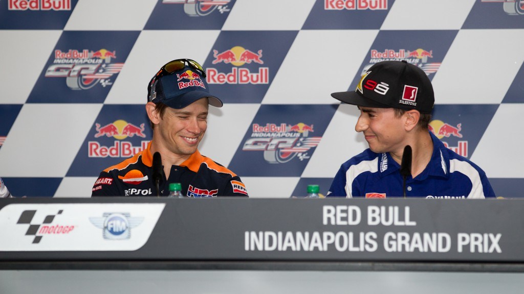 Casey Stoner, Jorge Lorenzo, Repsol Honda Team, Yamaha Factory Racing, Red Bull Indianapolis Grand Prix Press Conference