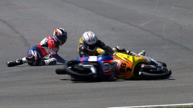 Indianapolis 2012 - Moto3 - QP - Action - Miller and Martin - Crash