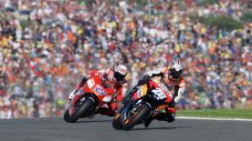A first win on home soil for Dani Pedrosa in the premier class saw him snatch second place in the World Championship at the conclusion of his second MotoGP season, at the Gran Premio bwin.com de la Comunitat Valenciana, as Valentino Rossi was unable to finish the race due to a technical problem.