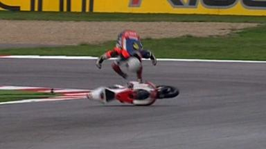 Misano 2012 - Moto3 - FP3 - Action - Miroslav Popov - Crash