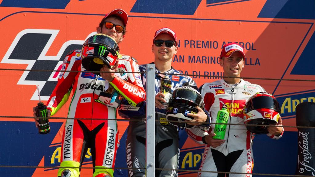 Rossi, Lorenzo, Bautista, Ducati Team, Yamaha Factory Racing, San Carlo Honda Gresini, Misano RAC