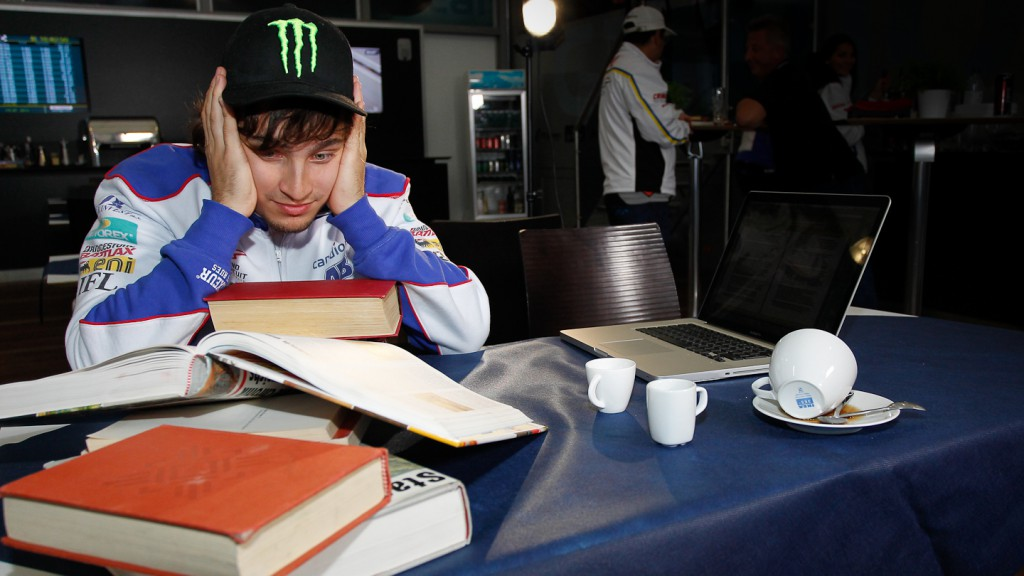 karel Abraham, studying at the circuit