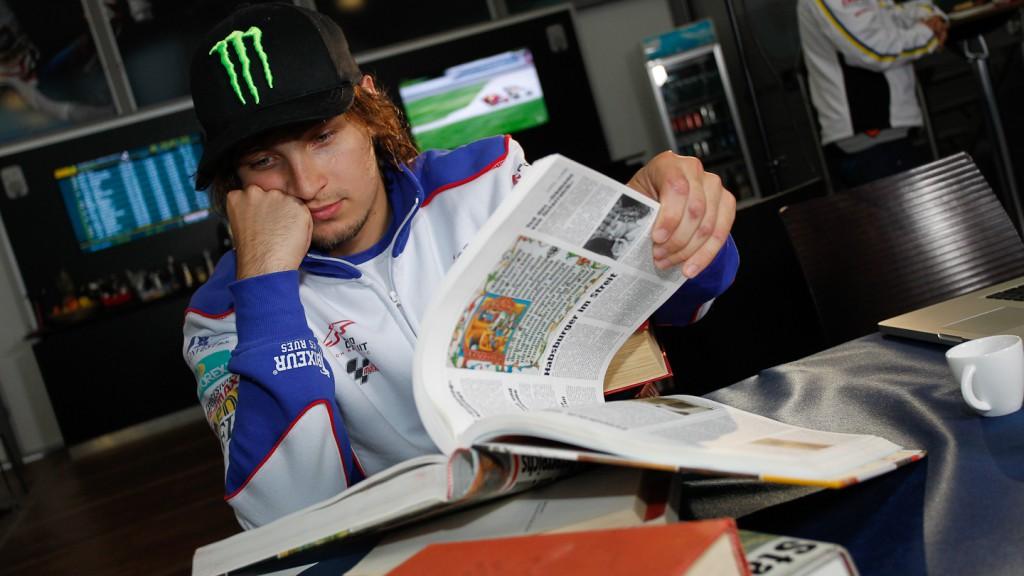 karel Abraham, studying at the circuit