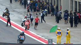 In a crash-strewn Moto2™ second free practice held in very wet conditions at the Gran Premio Iveco de Aragón it was JiR Moto2's Johann Zarco who coped best as he headed Alex de Angelis and Tom Lüthi.