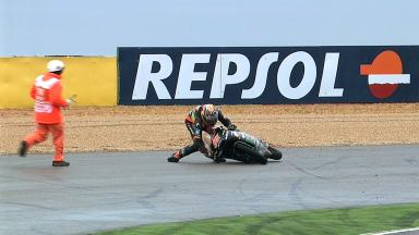 Aragon 2012 - Moto3 - FP1 - Action - Niklas Ajo - Crash