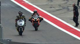 The final Moto2™ pre-qualifying practice at MotorLand Aragón was led by Frenchman Johann Zarco on his JiR Moto2 machine on a wet-drying track, with Alex de Angelis in second and Anthony West third.