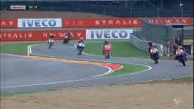 The second day of action at the Gran Premio Iveco de Aragón commenced with AirAsia-Sic-Ajo's Zulfahmi Khairuddin setting the fastest time in Moto3™ FP3 on a wet track, with Briton Danny Kent and Spaniard Alex Rins just behind the Malaysian rider on the timesheets.
