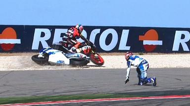 Aragon 2012 - Moto2 - RACE - Action - De Angelis and Nakagami - Crash