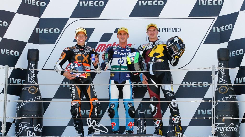 Marquez, Espargaro, Redding, Team CalatunyaCaixa Repsol, Tuenti Movil HP 40, Marc VDS Racing Team, Aragñon RAC