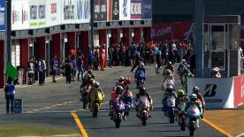 Sandro Cortese, le leader du Championnat du Monde Moto3™, a distancé ses adversaires lors de la seconde séance d'essais de vendredi au Grand Prix AirAsia du Japon et comptait au final plus de trois dixièmes de seconde d'avance sur Maverick Viñales et Zulfahmi Khairuddin.